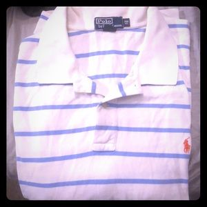 White and blue striped authentic polo